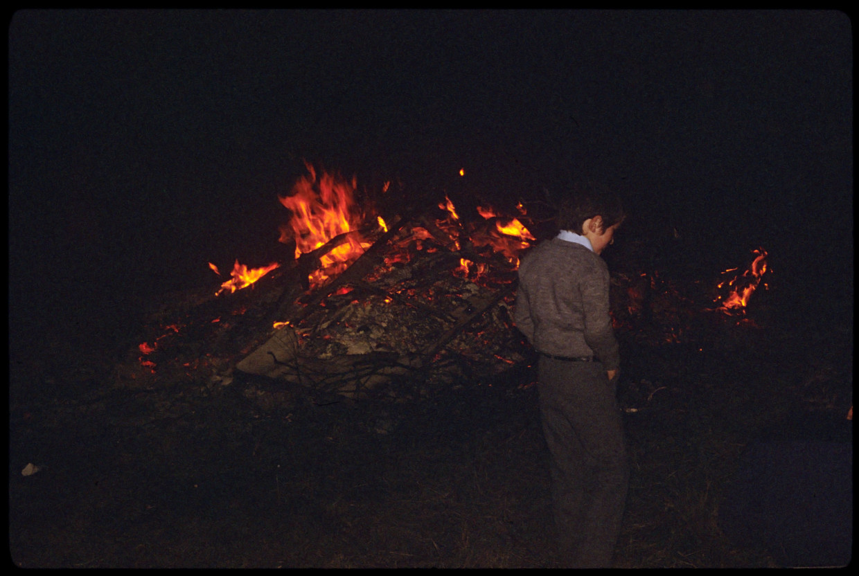 Child at Hallowe'en Bonfire